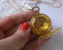 Vintage Watch Necklace, Alice in Wonderland Style Pocket Watch Necklace, Steampunk Watch, Works Great, Keeps Time, Wind up Watch on Chain