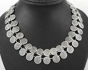 Vintage LOS CASTILLOS Mexican Design Sterling SIlver Necklace - 70 gr.