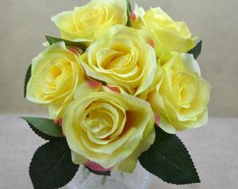 No.B0830 Yellow Open  Rose Bouquet - Artificial Flower Bouquet, Artificial Flower, Wedding Bouquet, Bridesmaid Bouquet.