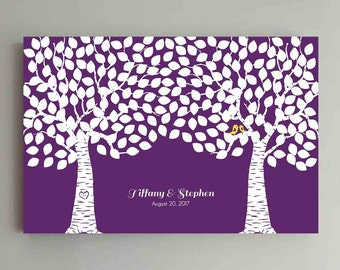 250 Guest Wedding Guest Book Wood Two Double Tree Wedding Guestbook Alternative Guestbook Poster Wedding Guestbook Poster - Purple