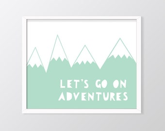 Mint Nursery Wall Art Printable, Let's Go On Adventures Print, Mountains Art, Mint Green Decor, Mint print, Nursery Decor, Nursery Prints