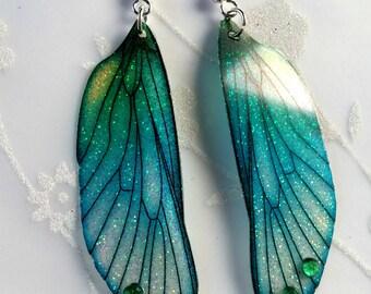 Beautiful Aqua-Green Fairy Wing Earrings