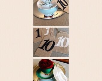 Wedding Table Centrepiece Vintage Tea Cup & Number x 10