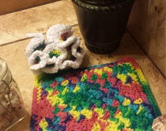 Rainbow Blob Washcloth and Scrubby Set