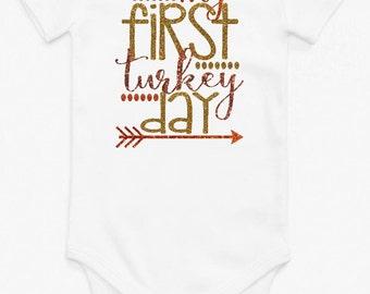 My First Turkey Day Bodysuit // My First Turkey Day // Baby's 1st Thanksgiving // Baby's First Thanksgiving