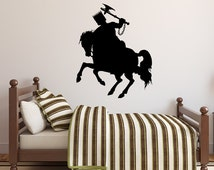 Knight on Horse Wall Decal Vinyl Silhouette With Raised Sword for Kid's Room Home Decor