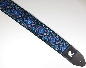 Indigo Woven Guitar Strap - Jacquard Ribbon - Acoustic, Electric, or Bass