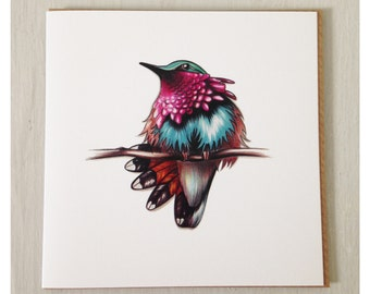 Wine-Throated Humming Bird Card