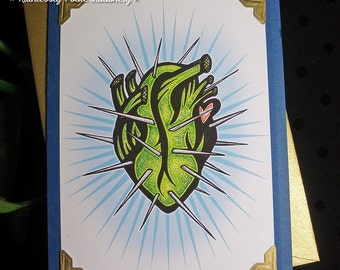 CACTUS HEART in Pacifico /  Handmade Greeting Card