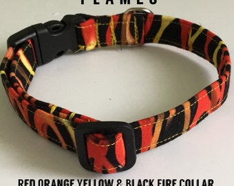 Red Orange Yellow & Black Fire Collar for Dogs and Cats