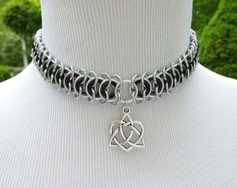 Discreet Day Collar Choker, Vertebrae Chainmaille BDSM Slave Collar, Celtic Love Knot Pendant