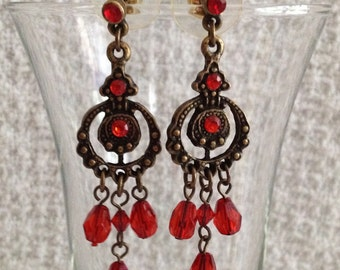 Red Antiqued Gold Tone Chandelier Earrings, Red Drop Earrings, Red Dangle Stud Earrings, Lightweight Dangle Drop Stud Earrings