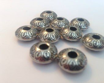 Antique Silver effect Plastic Beads - spacer beads, charm, for jewellery making