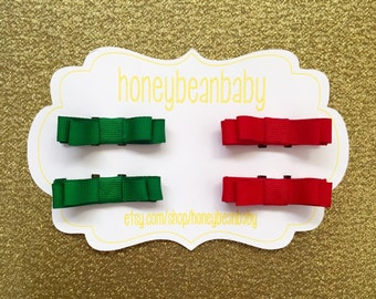 Holiday Hair Clips - Red and Green, set of 4