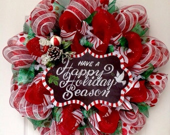 Have A Happy Holiday Season Candy Cane Striped Wreath Handmade Deco Mesh