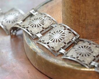 Art Nouveau style silver filigree panel bracelet