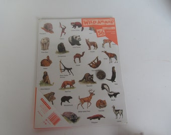 Animal Stickers - 56 Stickers of Wild Animals - NIP - Vintage Collectables .