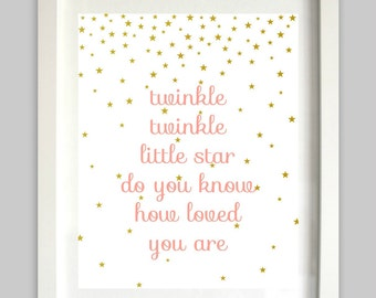 Twinkle Twinkle Little Star Printable // Star Art // Nursery Rhyme // Coral and Gold // Girl Nursery Art // Do You Know How Loved You Are
