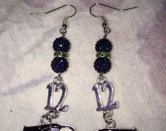 Seattle Seahawks 12 Man/Hawkhead earrings
