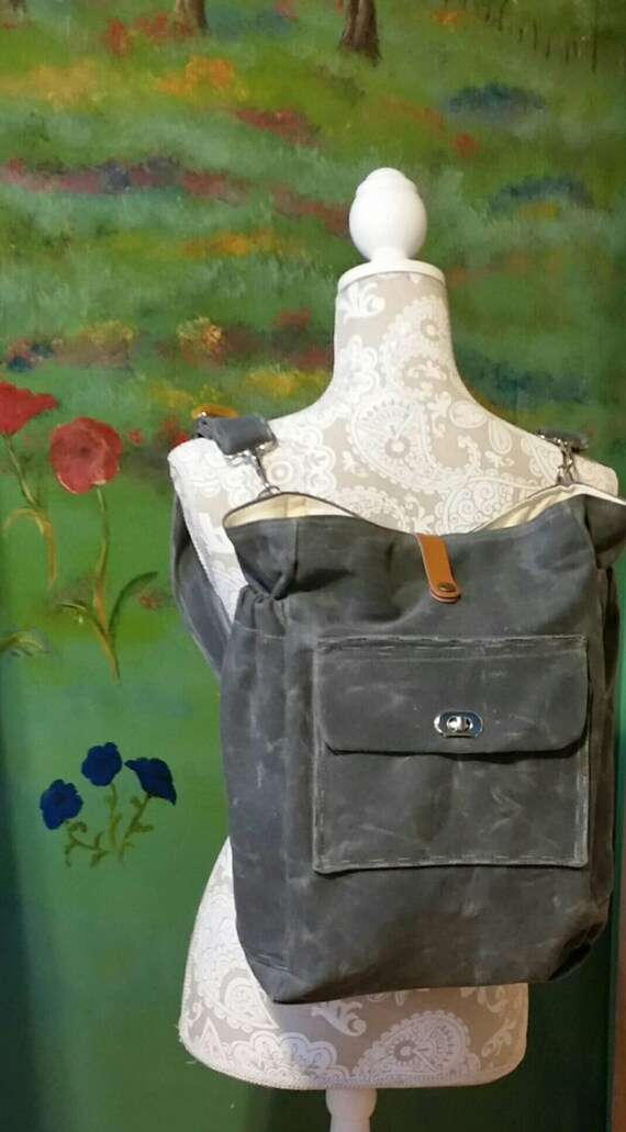 waxed canvas diaper bag backpack book bag by. Black Bedroom Furniture Sets. Home Design Ideas