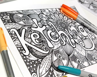 Ketching! Relaxation coloring - colouring poster - version printed on cardboard