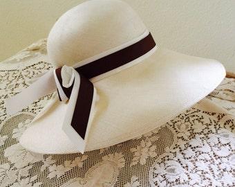 Vintage Hat, 1970's Frank Olive for I. Magnin Ivory Straw Fashion Hat