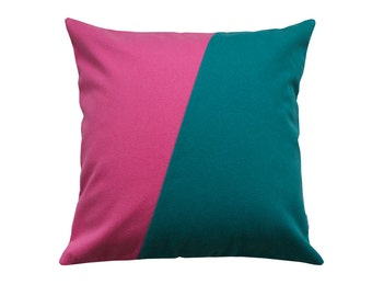 Pink and green pillow cover