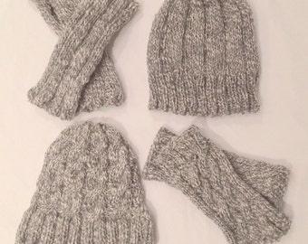 Shades of Grey! Island Alpaca Hat and Alpaca Wrist Warmer Sets and Hand Knit Cascade Scarf -Made with our own Alpaca Il Tesoro and Lorenzo!!