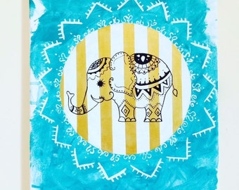 Elephant Painting Teal and Gold