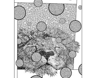 Lion Coloring Page - Adult Coloring - Printable Artwork - Digital Download - DIY Wall Art - Safari Art - Wild Animal Print - Zoo Coloring