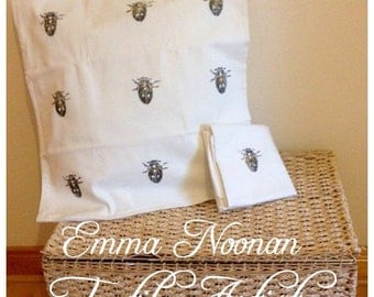 Hand Printed Beetle Cushion Cover