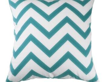 Chevron Teal Pillow Cover