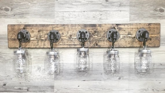 Rustic Industrial Modern Mason Jar Lights Vanity Light: Rustic/Industrial/Modern Wood Handmade 5 Mason Jars By Lulight