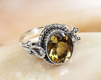 Citrine Gemstone Ring, Citrine Ring, Citrine Jewellery, Citrine Silver Ring, 925 Silver RIng, Unique Ring. Designer Ring, Birthday Gift,