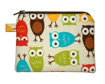 Bermuda Owl Coin Purse - Owl Zipper Pouch - Owl Purse - Padded Pouch - Children's Purse - Owl Bag