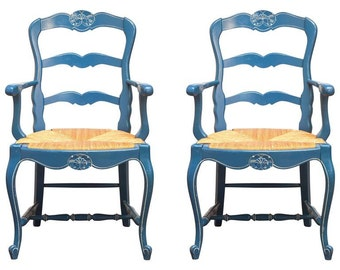 Pair of French Blue Carved Ladder Back Chairs