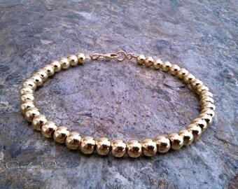 Beads bracelet 18K Gold Vermeil over sterling silver. Vermeil beads 5mm. bracelet gold 18K over sterling silver