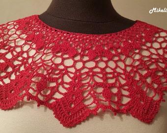 Handmade Crochet Collar, Neck Accessory, Red, 100% Cotton