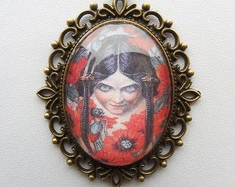 """Art nouveau pendant necklace, """"Les Fleurs du Mal"""" illustration, goth pendant, antique bronze, girl with poppies, Carlos Schwabe art"""
