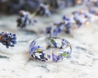 Eco Resin Ring Band with Pressed Lavender Flowers and Leaves - Clear Ring - Nature Inspired Jewellery