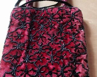 Vintage velvet beaded Bag