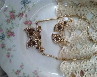 Purple Rhinestone Vintage Necklace and Earrings