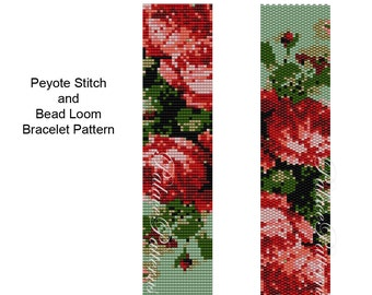 Roses are Coral Peyote Stitch or Bead Loom Bracelet Pattern - Roses Bracelet Pattern