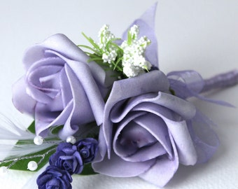 Lilac Rose &  with silver Pearl Artificial Silk Ladies Wedding Corsage