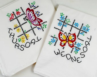 Hand Embroidered Towels, Embroidered Butterfly Days Of The Week, Embroidered Kitchen Towels,  Set Of 7.  Free Shipping USA