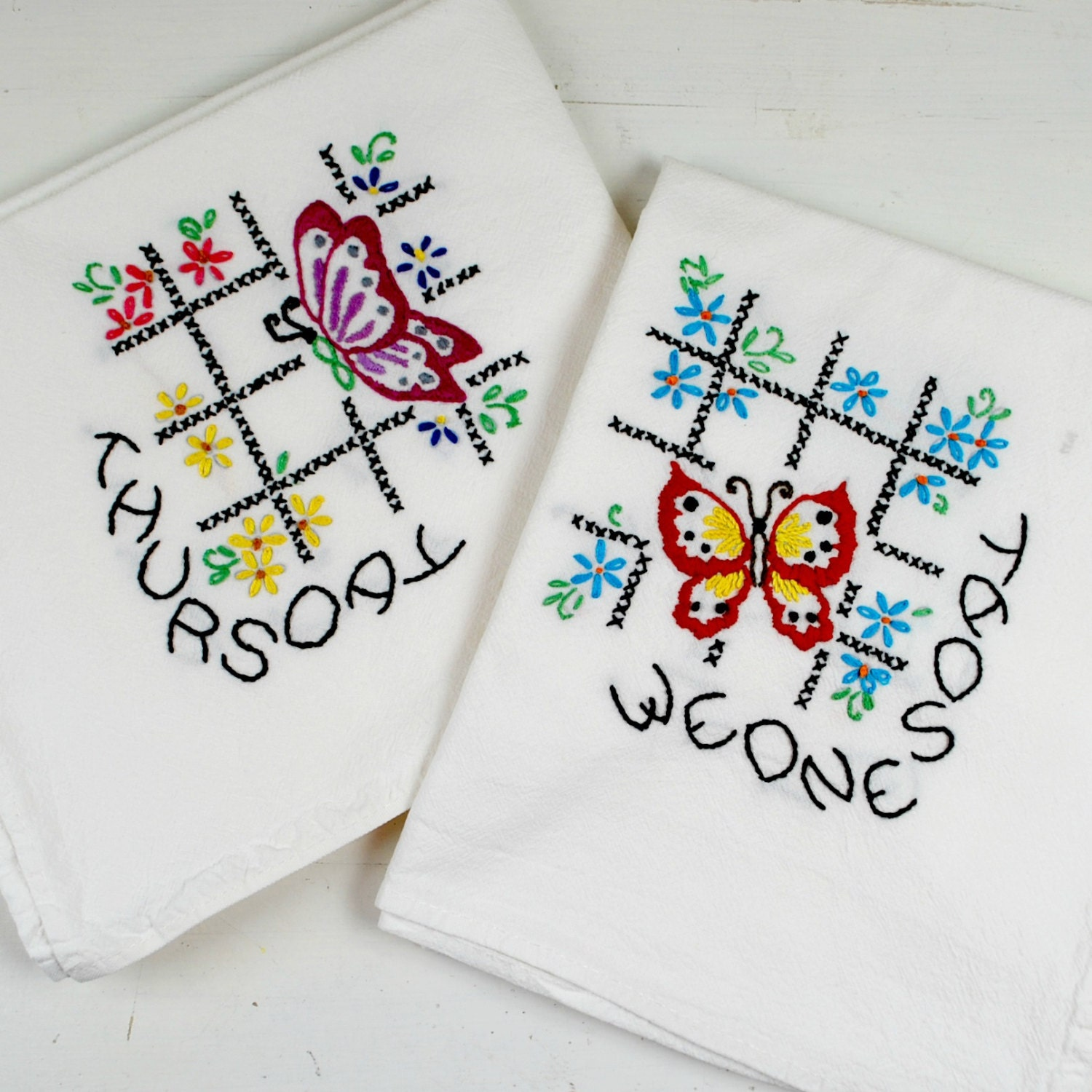 Days Of The Week Dish Towel Embroidered Towels Hand