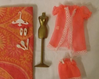Topper Dawn Doll vintage outfit Neon Orange Chiffon Baby Doll PJ ~ Complete set in Excellent condition