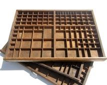 Wooden Printers Tray, Display Case, Letterpress Drawer, French Wooden Letterpress Tray, Printers Tray, Wooden Tray For Letterpress