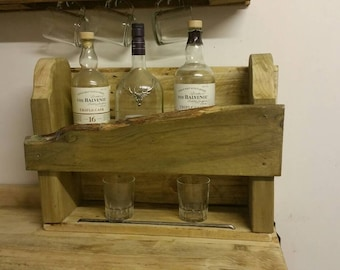 Whisky bottle decanter stand  wall mountable or free standing with tumbler storage