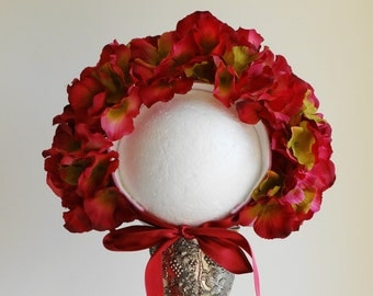 Hydrangea Paradise Floral Bonnet #photo prop #Fully covered